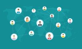 Sociaal netwerk Conceptuele bedrijfsillustratie Globale bedrijfsmededeling zaken teamworkconcept stock illustratie
