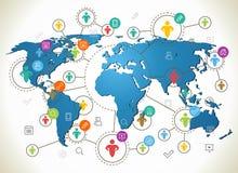 Sociaal netwerk Diverse vormen fonkelende Pictogrammen Vlak ontwerpconcept met wereldkaart Royalty-vrije Stock Afbeeldingen