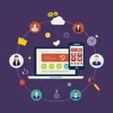 Sociaal netwerk en groepswerk royalty-vrije illustratie