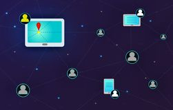 Sociaal netwerk, mensen die over de hele wereld verbinden vector illustratie