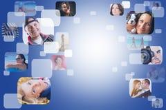 Sociaal netwerk met gezichten Stock Foto's