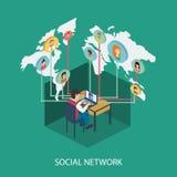 Sociaal netwerk online concept voor Web en infograp Stock Afbeelding