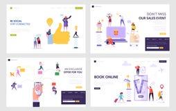 Sociaal Netwerk, online Winkelend, de Elektronische Postdienst, Boekkaartjes in Geplaatste de Malplaatjes van het Internetwebsite vector illustratie