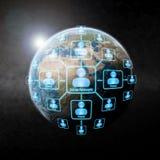 Sociaal netwerk over de wereld Stock Fotografie