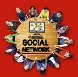 Sociaal Netwerk Sociaal Media het Web Online Concept van Internet WWW Stock Foto