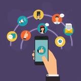 Sociaal netwerk vectorconcept Hand die een smartphone houden royalty-vrije illustratie