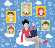 Sociaal netwerk (vectorillustratie) Stock Foto