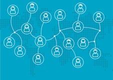 Sociaal netwerkconcept globaal verbonden mensen of collega's Vectorillustratie met wereldkaart in vlak ontwerp stock illustratie
