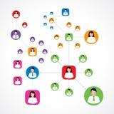 Sociaal netwerkconcept met kleurrijke mannelijke en vrouwelijke pictogrammen Stock Afbeelding