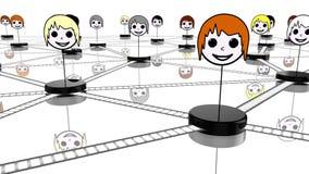 Sociaal netwerkconcept met verbonden gezichten op wit Royalty-vrije Stock Afbeelding