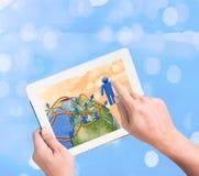 Sociaal netwerkdiagram op touchpadPC stock afbeeldingen