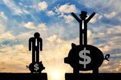 Sociaal ongelijkheid en kapitalisme stock afbeelding