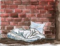 Sociaal probleem van dakloosheid - waterverf hand-drawn illustratie vector illustratie