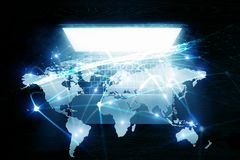 Sociaal verbinding en voorzien van een netwerk Gemengde media Stock Foto