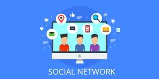 Sociaal voorzien van een netwerk - sociaal media publiek Vlakke ontwerpillustratie Stock Foto's