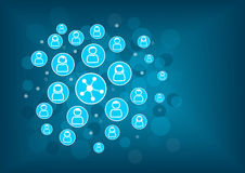 Sociaal voorzien van een netwerkconcept als illustratie Vage achtergrond met verbonden pictogrammen van personen Stock Foto's