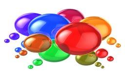 Sociaal voorzien van een netwerkconcept: kleurrijke toespraakbellen Royalty-vrije Stock Foto's