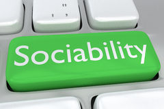 Sociability concept. Render illustration of computer keyboard with the print Sociability on a green button Stock Image