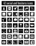Social и вектор дела установленный значками Стоковые Изображения