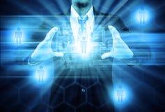 social сети удерживания бизнесмена Стоковые Изображения RF