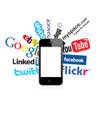 social телефона 4 логосов I Стоковое фото RF