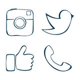 Social. Abstract icons. Doodle social media icons. Vector illustration Stock Image