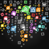 Social abstract media icons falling down Royalty Free Stock Photos