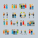 Social activity flat icon set Royalty Free Stock Images