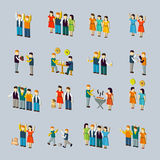 Social activity isometric icon set Royalty Free Stock Photo