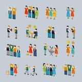 Social activity isometric icon set Royalty Free Stock Photo