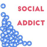 Social addict. Social media icons in abstract shape background with scattered thumbs up. Social addict concept in captivating vector illustration Royalty Free Stock Photo