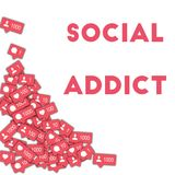 Social addict. Social media icons in abstract shape background with counter, comment and friend notification. Social addict concept in enchanting vector Stock Photography