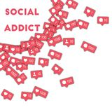 Social addict. Social media icons in abstract shape background with counter, comment and friend notification. Social addict concept in marvelous vector Royalty Free Stock Photos
