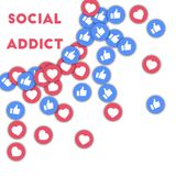 Social addict. Social media icons in abstract shape background with scattered thumbs up and hearts. Social addict concept in lovely vector illustration Royalty Free Stock Photo