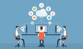 social affärsanslutning för folk på molnet stock illustrationer