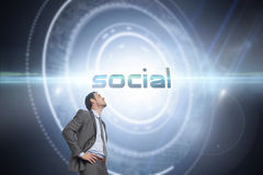 Social against black background with glowing circle Royalty Free Stock Image