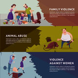 Social Aggression Horizontal Banners. With parents shouting at children animal abuse and violence against woman vector illustration Royalty Free Stock Photography