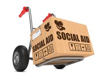 Social Aid - Cardboard Box on Hand Truck. Stock Photography