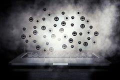Social anslutning och nätverkande Blandat massmedia Arkivbild