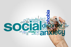 Social anxiety disorder word cloud concept. Social anxiety disorder word cloud on grey background Stock Image