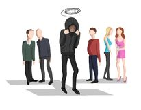 Social anxiety, social phobia royalty free illustration
