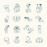 Social assistance services line hands signs. Linear fundraising, support and care icons  Stock Photo