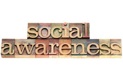 Social awareness in wood type Stock Photo
