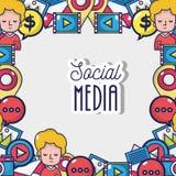 Social bakgrund för massmedianetwordanslutning Arkivfoto