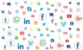 Social bakgrund för massmediasymbolsmodell för tapet på vit bakgrund Royaltyfri Bild