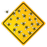 Social bees on sign Royalty Free Stock Image