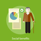 Social Benefits Concept. Grandpa with documents of social benefits. Concept in flat design style. Can be used for web banners, marketing and promotional Royalty Free Stock Images