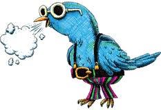 Social Bird. A social cartoon bird shares its thoughts Royalty Free Stock Photography