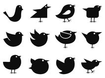 Social bird icons stock illustration