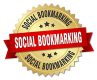 Social bookmarking badge. Social bookmarking round badge with ribbon stock illustration